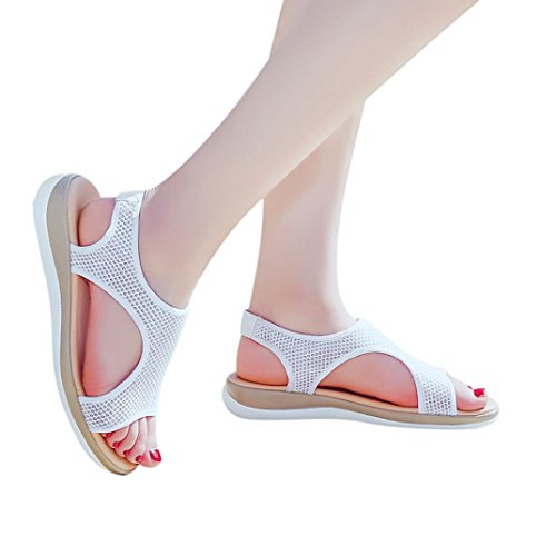 Memory Interactive (YJYdada Fashion Women Breathable Flat Heel Anti Skidding Beach Shoes Rome Sandals (42, White))