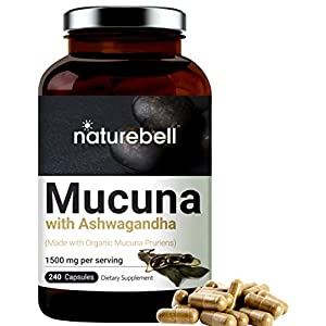 Gut Health Shop 41noCNC1RPL._SS300_ Mucuna Pruriens Capsules, 1500mg Per Serving, Made with Organic Mucuna and Ashwagandha, 240 Capsules, 30% Natural L-Dopa…