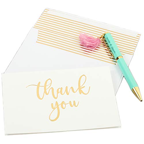 Andaz Press Gold Foil Letterpress Thank You Cards with Self Seal Envelopes, Bulk 50-Pack Note Cards, Embossed Letter Press Folded Calligraphy Thank You Message Stationary Cards for Baby Shower ()