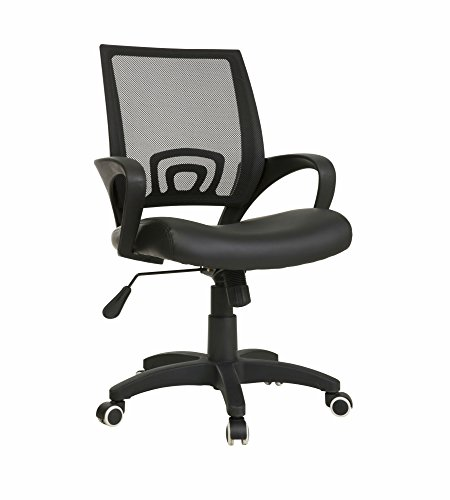Ergonomic Task Chair with Stylish Arms – PU Leather Seat and Netted Aeroflow Backrest – Gas Height Adjustment – Swivel and Tilt Mechanism – Supports up to 225 Pounds Body Weight (Black)