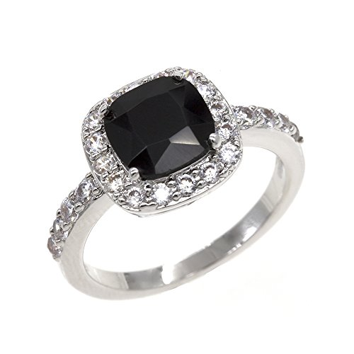 Square Rings Wedding Party Statement CZ Cocktails Gold Plated Classic Fashion Size 5 - 10 (Black, (10 Stone Ring)