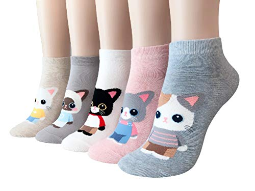 GYT Womens Teen Girls Cute Cats kittens Print Casual Ankle Socks Perfect Gifts (Kitty Love) ()