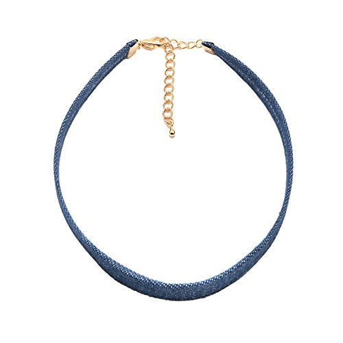 ChelseachicNYC Denim Blue Jean Choker Necklace