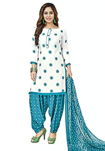 - Muhenera Women's White & Blue Synthetic Printed Salwar Suit Dress Material (Unstiched) with Dupatta
