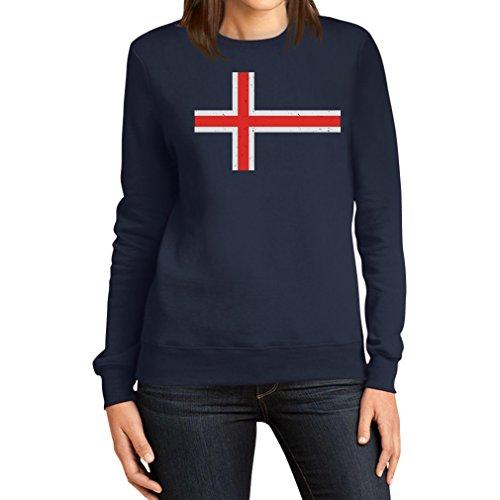 Islandese Da Bandiera Felpa Navy Vintage Islanda Shirtgeil Donna RIXx5qExow