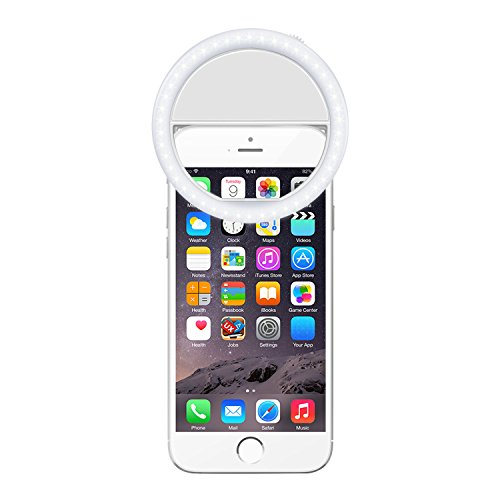 Demetory Ring Fill Light Rechargable for iPhone 6s Plus/6s, iPad, Samsung Galaxy S6 Edge/S6, Galaxy Note 5, Blackberry, Sony Xperia, Motorola and All the Smart Phones (Pearl (710 Mah Lithium Battery)