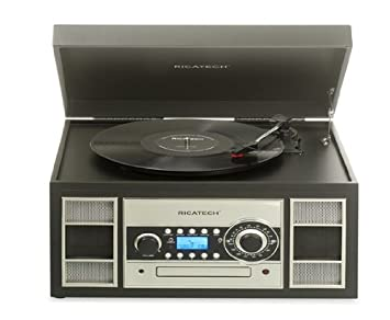 Ricatech RMC400 - Tocadiscos con digilizador MP3 (USB, reproductor de CD, radio AM/FM), negro