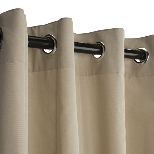 Sunbrella Outdoor Curtain with Grommets -Nickle Grommets-Antique Beige by Sunbrella