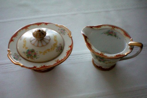 (Beautiful Antique China Dinnerware -- Noritake Covered Sugar and Creamer -- Discontinued Production 1949)