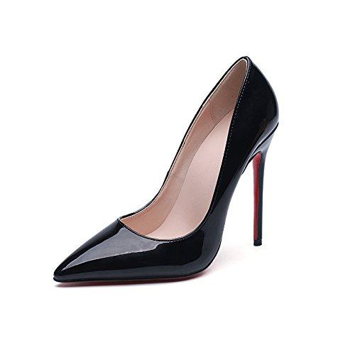 Talons Pour Femme Noir Sexy Pointu Escarpins Escarpins Chaussures En Cuir Sandales Fête Discothèque Soirée Black(10cm) h0nVA
