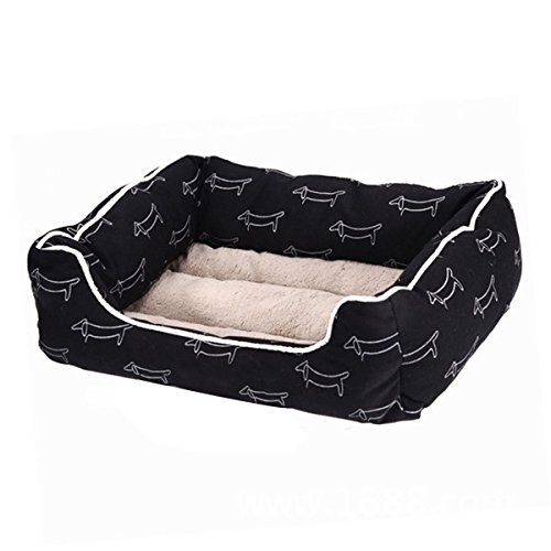 Hachikitty Rectangle Pet Bed with Dachshund Printing for Cats and Small Medium Dogs Puppy Kitten Chihuahua Pitbull Rabbit Black