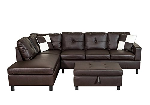 Legend Faux Leather Right-Facing Sectional Sofa Set With Free Storage Ottoman, Brown