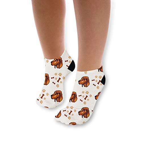 Redbone Coonhound Dog Breed Pattern #2 Unisex Toddler Baby Ankle Socks Funny Novelty Kids Socks Polyester & Polyester Blend - 3 Pack - Coonhound Breed Dog