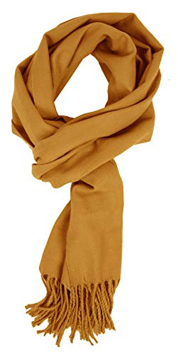 (Love Lakeside-Women's Cashmere Feel Winter Solid Color Scarf (One, 0-0 Golden)