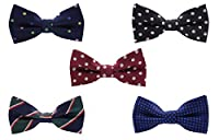 Boys Pre-tied Neck Bow Tie Adjustable Mixed Lot (5 Pack)