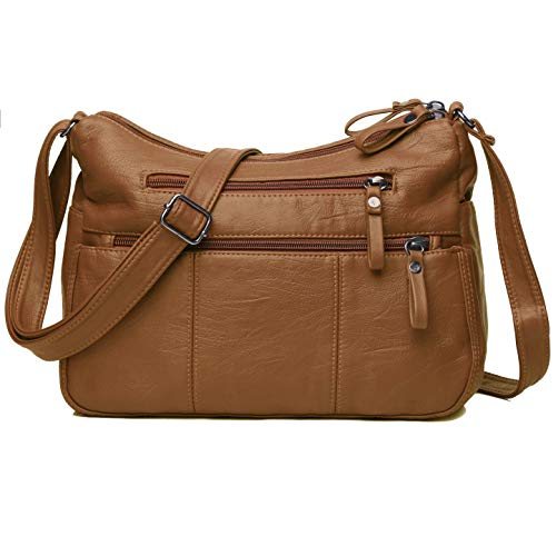 Crossbody Bag Pocketbooks Soft PU Leather Purses and Handbags Multi Pocket Shoulder Bag (Brown-11.8