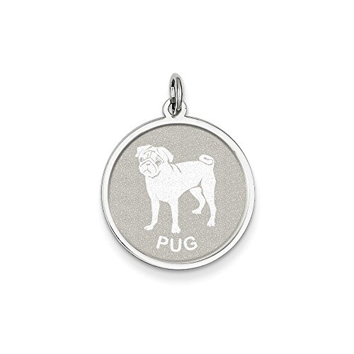 Sterling Silver Engravable Pug Disc Charm Pendant (Silver Sterling Pug)