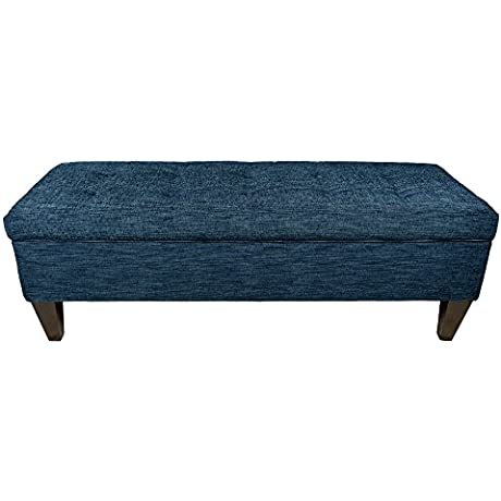 MJL Furniture Designs Brooke Collection Lucky Series Contemporary Rectangle Storage Ottoman With Button Tufting Denim Dark Blue