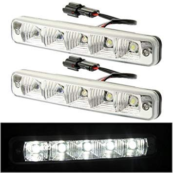 Uniqus High Power Car White 2 x 5 LED Daytime Running Light