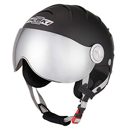 NENKI Ski Helmet with Visor Snow Sport Skiing Snowboard Helmets for Men Women & Young Anti Fog Visor NK-2012 (Matt Black,Dark Silver, Large 56-57CM) ()