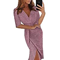 ONine Women Off Shoulder Ruched Metallic Knit High Slit Bodycon Dress Evening Party Cocktail Dress