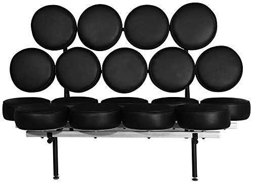 - Emorden Furniture George Nelson Marshmallow Sofa in Black Italian Leather, Comfortable, Solid, Durable, Artistic, Easy Cleaning & Interchanged, Floor Protector Pads Adjustable