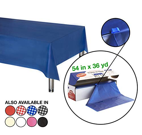 Plastic Table Covers Roll (Neatiffy 54 Inch x 108 Feet Disposable Plastic Table Cloth Roll, Party/Banquet Table Cover, Tablecloths For Rectangle/Round/Square Tables, Equals To 12 Picnic Pack (Royal)