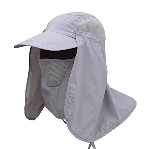 Sun Cap/Fishing Hat/Neck/Face Protection Mask-UV proof, UPF 50+,Anti-ultraviolet, Windproof and Dustproof Cap with Removable Shield and Flap for Cycling, Hiking, Garden, Hunting,Camping (light grey) Flemish 5 Light