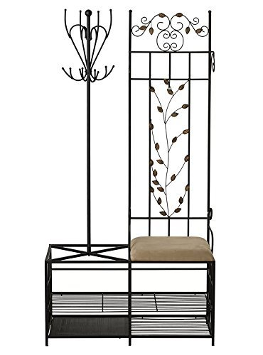 Entryway Hall Tree Coat Rack Storage Bench and Umbrella Holder All-in-one Black Metal Stand Clothes Organizer Furniture