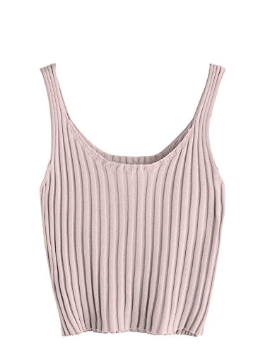 One Clothing Ribbed Tank Top - SweatyRocks Women's Ribbed Knit Crop Tank Top Spaghetti Strap Camisole Vest Tops (Large, Pink)