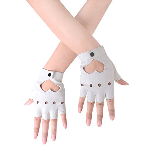 (JISEN Women Heart Cutout Punk Half Finger PU Leather Performance Gloves White)