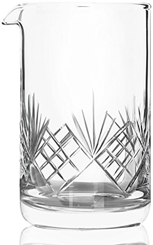 Crystal Cocktail Mixing Glass - Thick Weighted Bottom - 18oz (550ml) - Premium Seamless Design - Professional Quality - Great Gift -