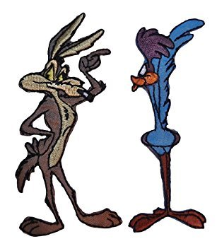 Road Runner Costume Looney Tunes (WILE E COYOTE & ROADRUNNER 2 Piece Set Embroidered PATCHES)