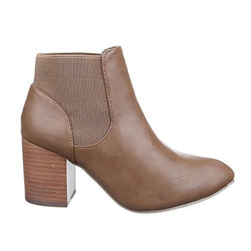 Ital-Design - Botas plisadas Mujer marrón claro