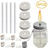 Mason Jar Tiki Torch Kit, tiki torches, Includes 4 Long Life Wicks, 4 Lids and 4 Caps - Just add Mason Jars & Fuel for Outdoor Lighting