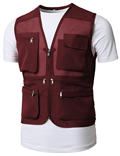 H2H Mens Hyfly Lightweight Mesh Fly Fishing Vest of Multiple Pockets Wine US M/Asia L (KMOV0150)
