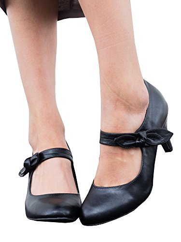 (Fashion Vintage Womens Small Bowtie Platform Pumps Ladies Sexy High Heeled Shoes)
