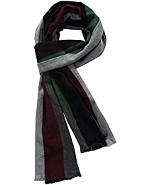 SSLR Men's Cashmere Feel Colorful Striped Scarf (One Size, Grey (1801))