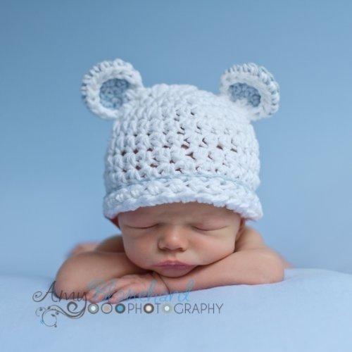 Melondipity Sugar Bear Boy White with Light Blue Trim Baby Hat - 100 Cotton - White (Newborn)
