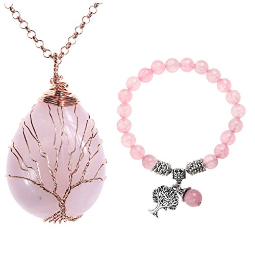 (Top Plaza Chakra Healing Crystals Tree of Life Wire Wrap Water Drop Pendant Necklace Bracelet Jewelry Set(Rose Quartz))