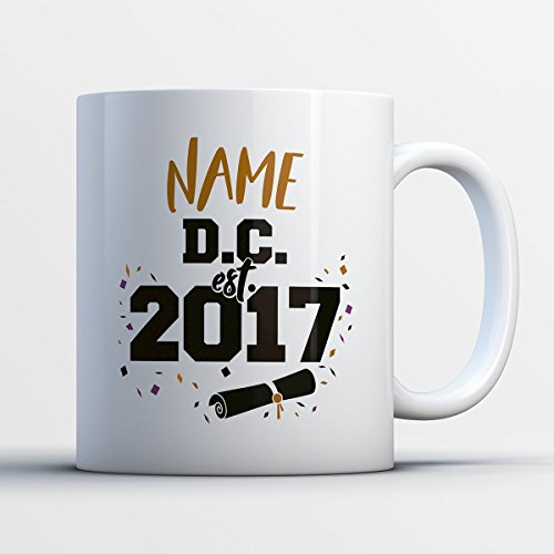 DC Coffee Mug – Name DC Est. 2017 - Funny 11 oz White Ceramic Tea Cup - Humorous and Cute Graduating Student Gifts with DC Sayings (Halloween Washington Dc 2017)