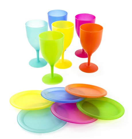 Colorful Plastic Picnic/Party Supply Set - Plastic Plates and Goblets - 12 Pieces ()