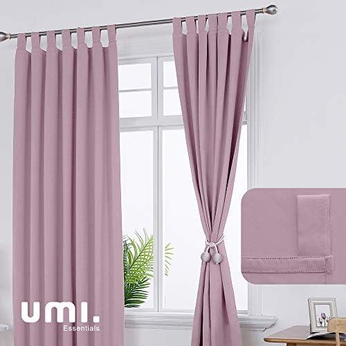 UMI by Amazon Cortinas Opacas de Salon Termicas Aisantes para Ventana Dormitorio Moderno con Trabillas 2 Piezas 140 x 175 cm Rosa Claro