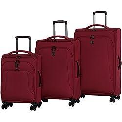it luggage Megalite-Vitality-8 Wheel Semi Expander Lightweight 3 Piece, Rio Red