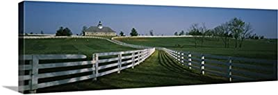 Canvas On Demand Premium Thick-Wrap Canvas Wall Art Print entitled Fences around ranches, Lexington, Kentucky