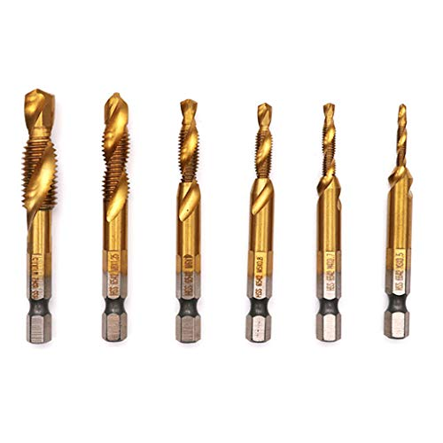6PCS Twist Drill for Wood High Speed Hex Shank Drill Bits Set Hex Shank Drill Bits for Hardened Steel - Compound Tap M3 - M10 ()