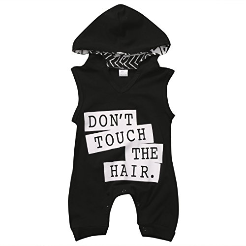 Infant Baby Girl Boys Hoodie Jumpsuit DONT TOUCH THE HAIR Cotton Romper Toddler Clothes