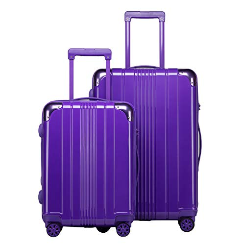 - PC+ABS Hardside Spinner Lightweight Trolley Carry On Luggage SET with TSA Lock (20in,26in), Red, Purple (Purple)
