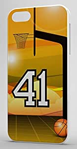 Basketball Sports Fan Player Number 41 White Plastic Decorative iPhone 5/5s Case