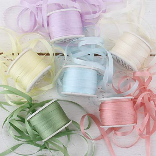 Threadart 4mm Silk Ribbon Set - Pastel Shades - Six Spool Collection - 100% Pure Silk Ribbon - 10m (11yd) Spools - 66 Yards of Ribbon